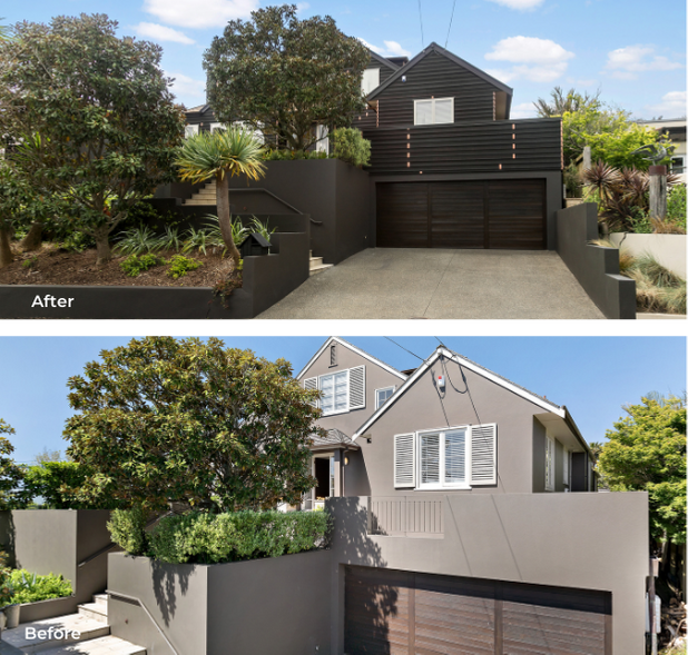 Before and after reclad exterior